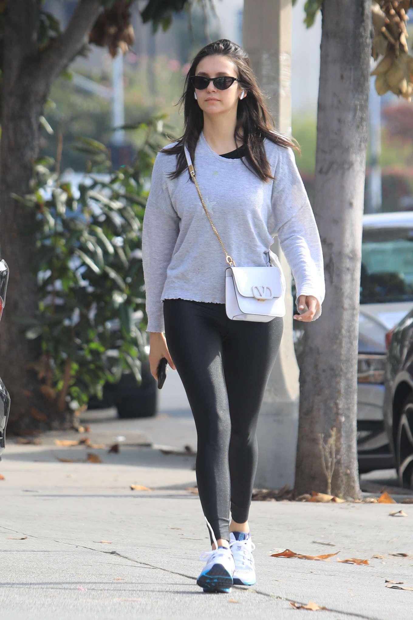 Nina Dobrev in Black Leggings - Out in West Hollywood