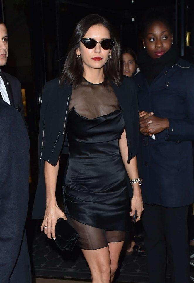 Nina Dobrev in Black Mini Dress - Out in Paris