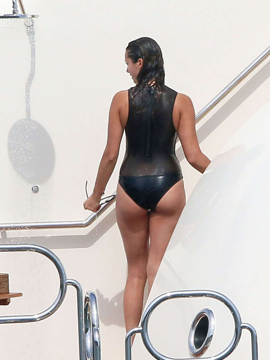 Nina Dobrev in Black Swimsuit -02