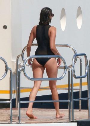 Nina Dobrev in Black Swimsuit -07
