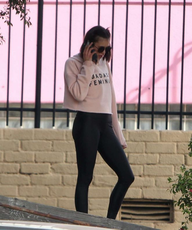 Nina Dobrev in Black Tights - Hits the gym in West Hollywood