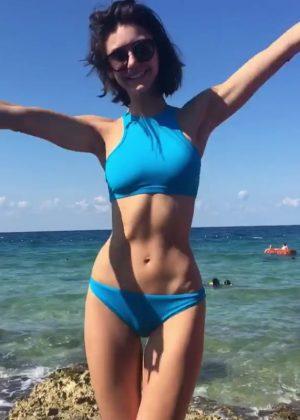 Nina Dobrev in Blue Bikini Social Media Photos Pic 8 of 35