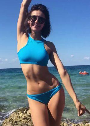 Nina Dobrev in Blue Bikini - Social Media Photos