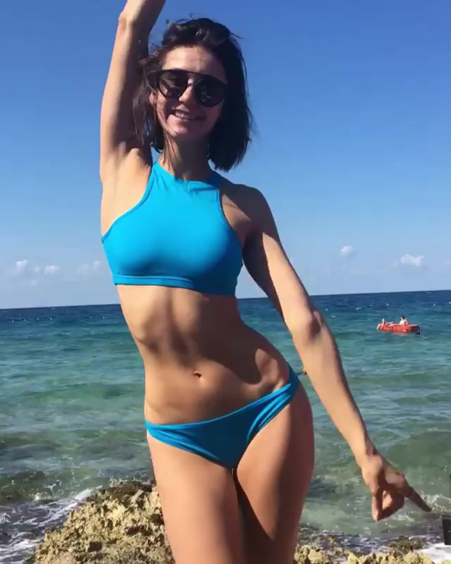 Nina Dobrev in Blue Bikini - Social Media Photos