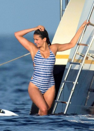 Nina Dobrev in Blue Swimsuit in St. Tropez