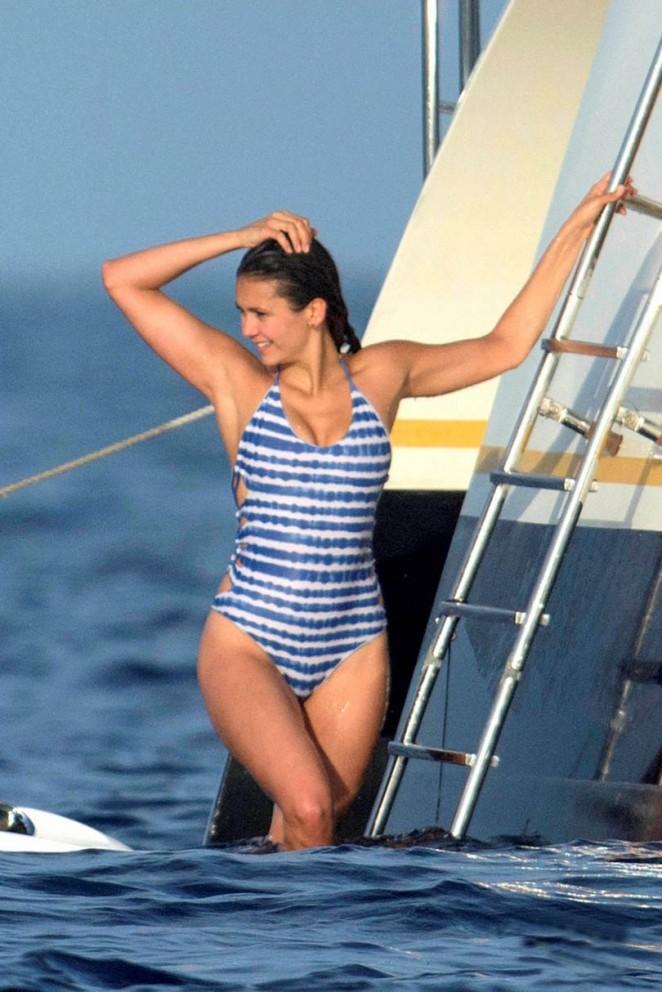 Nina Dobrev in Blue Swimsuit in St. Tropez