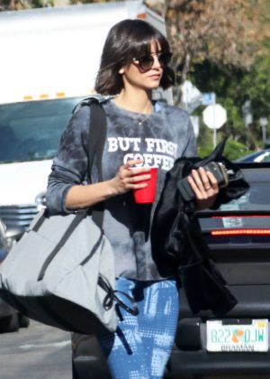 Nina Dobrev in Blue Tights - Hits the gym in LA