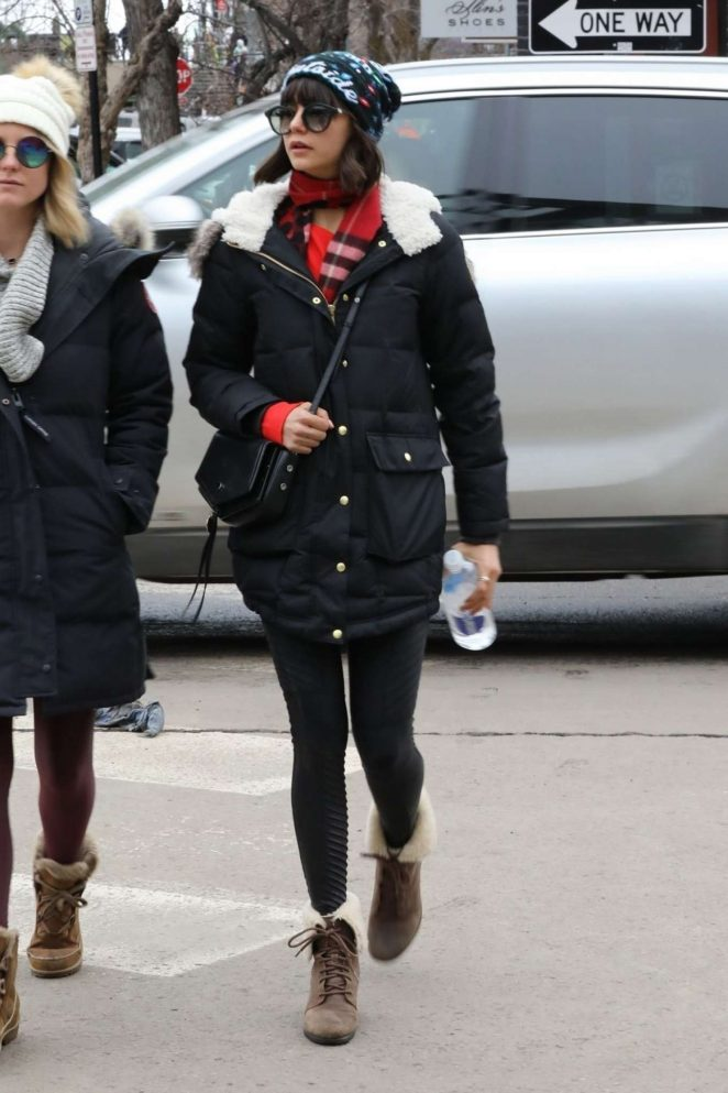 Nina Dobrev in Spandex - Out and about in Aspen