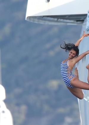 Nina Dobrev in Swimsuit -05