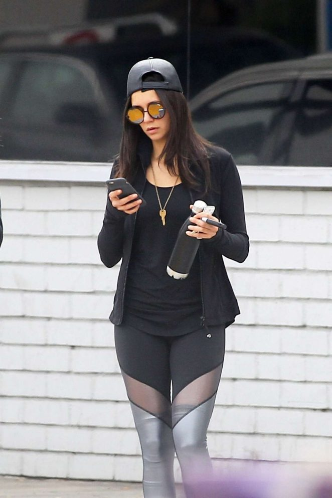 Nina Dobrev in Tights Leaving the Gym in LA