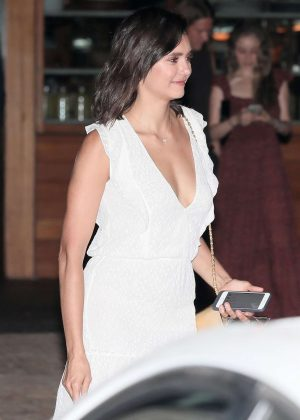 Nina Dobrev in White Dress at SoHo House in Malibu