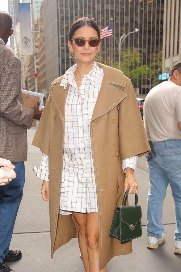 Nina Dobrev in White Dress - Out in NYC