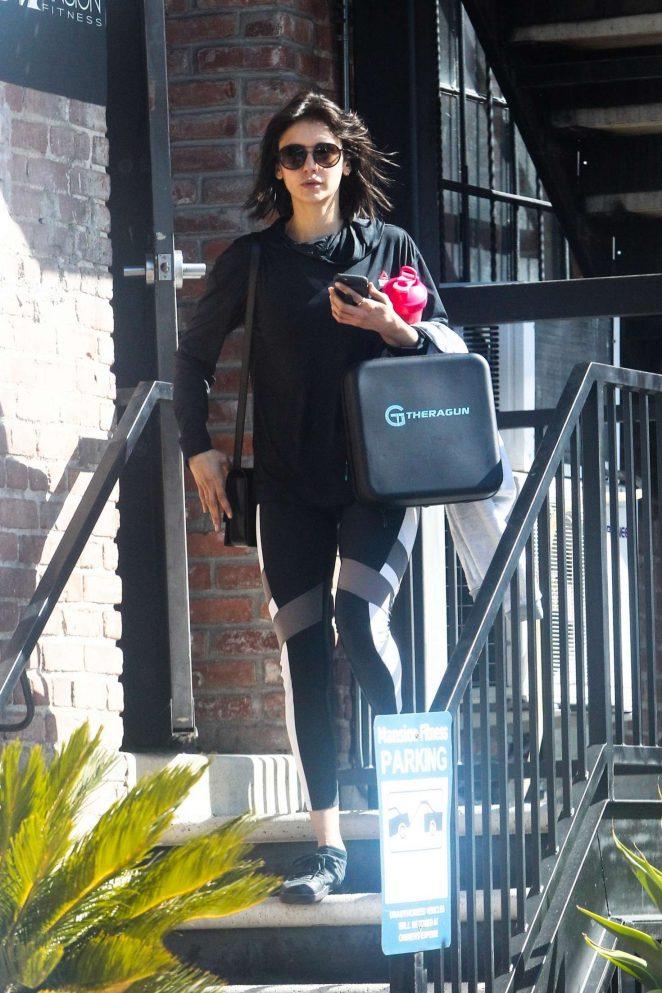 Nina Dobrev - Leaves her gym in Los Angeles