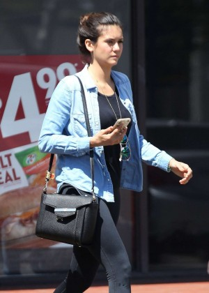 Nina Dobrev in Tights out in West Hollywood