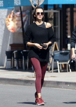 Nina Dobrev - Leaving a dance class with a friend in LA