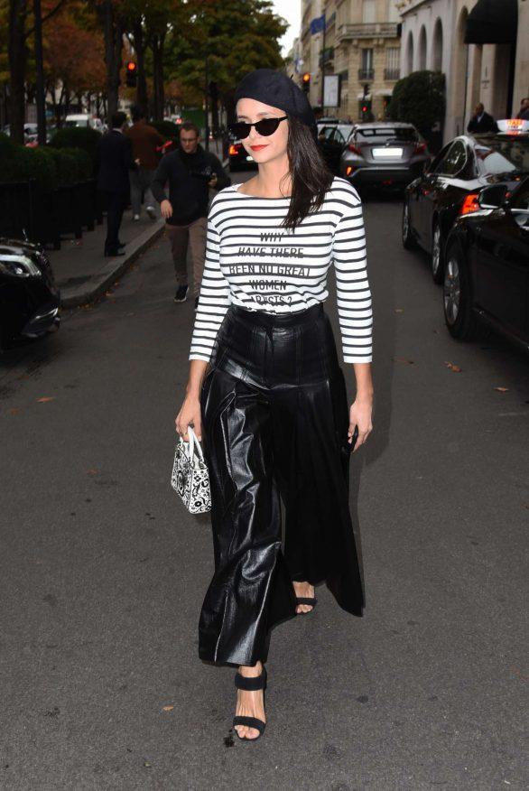 Nina Dobrev - Leaving the George V Hotel at Paris Fashion Week