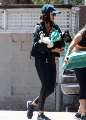 Nina Dobrev - Leaving the Gym with Her Dog in LA