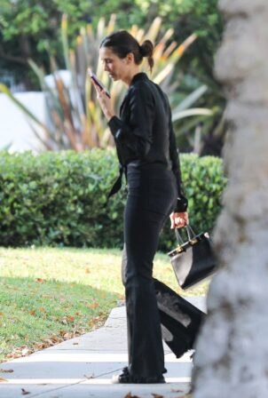 Nina Dobrev - looks stylish arriving at a friend's house in Beverly Hills
