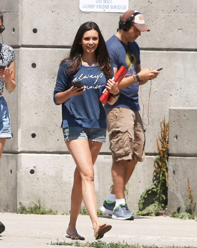Nina Dobrev - On the Set of 'Flatliners' in Toronto