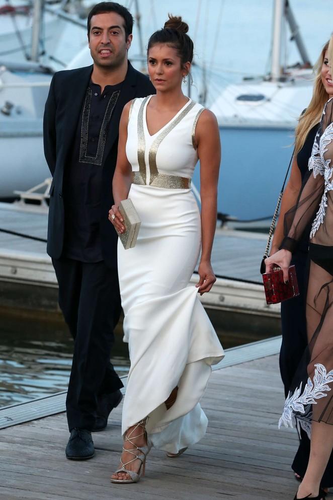 Nina Dobrev in White Dress Out in St. Tropez