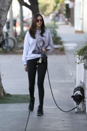 Nina Dobrev - Out with her dog and friends in West Hollywood