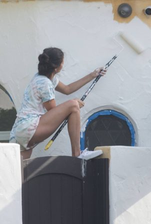 Nina Dobrev - Seen while paint her home in West Hollywood