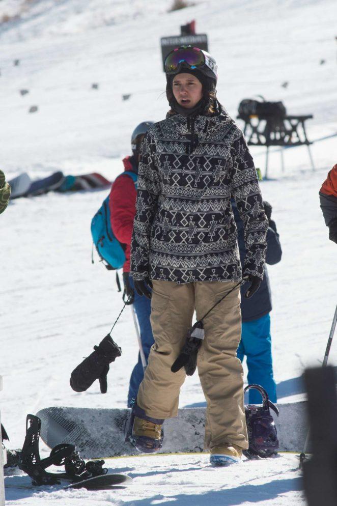 Nina Dobrev - Skiing in Aspen