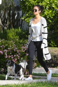 Nina Dobrev - Spotted with her dog in Los Angeles