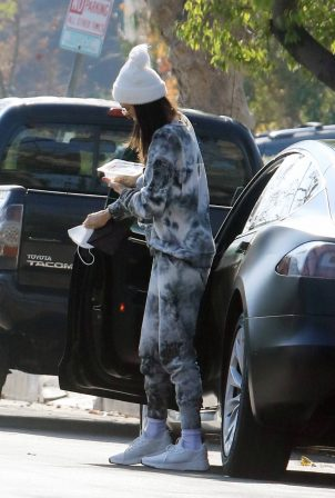Nina Dobrev - Steps out in a tie dye sweatsuit in Los Angeles
