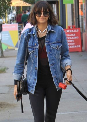 Nina Dobrev - Takes her dog Maverick for a walk in Hollywood