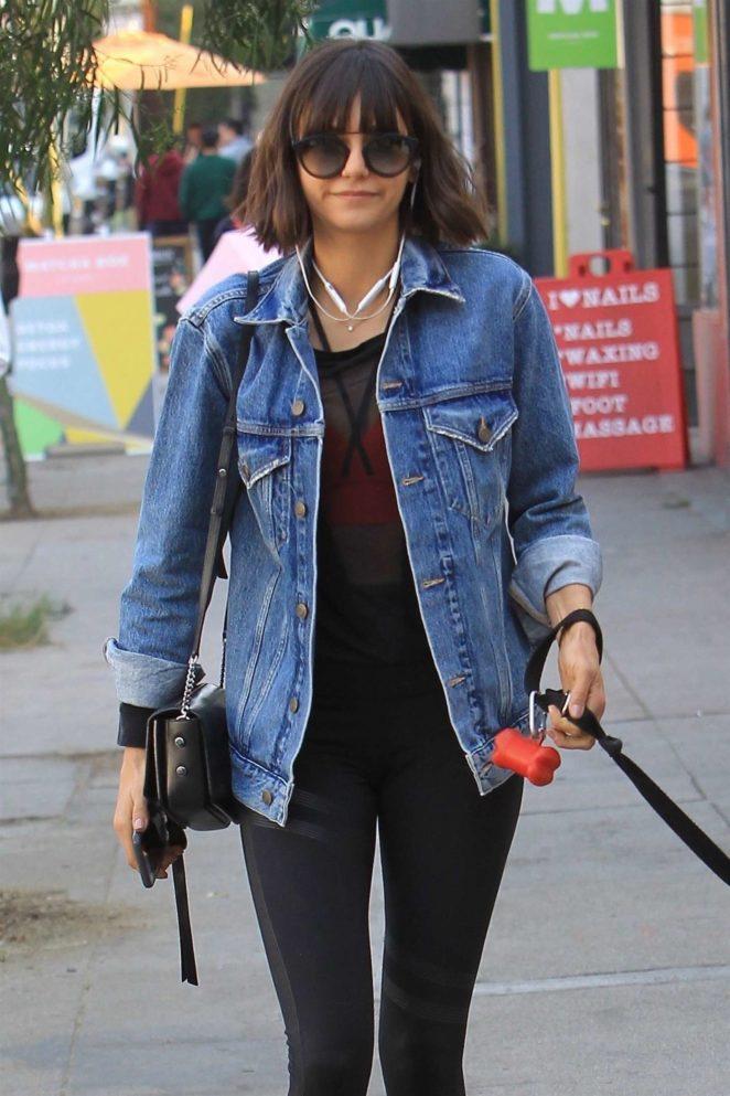 Nina Dobrev - Takes her dog Maverick for a walk in Hollywood