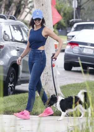 Nina Dobrev Takes her dog Maverick out for a walk in LA