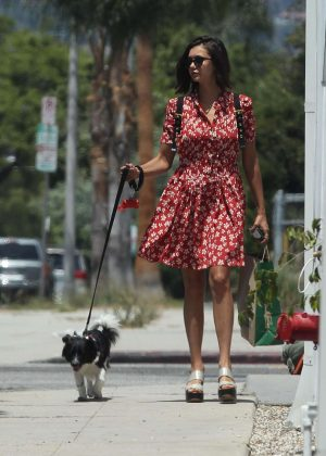 Nina Dobrev - Takes her dog Maverick out for a walk in LA