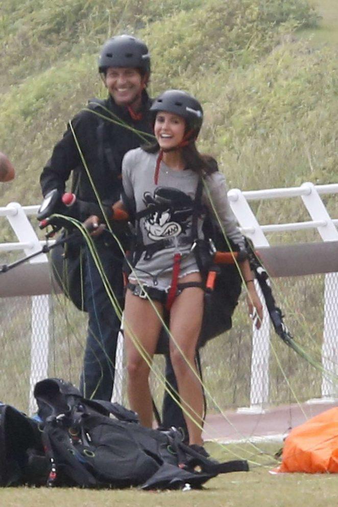 Nina Dobrev tries out paragliding in Rio