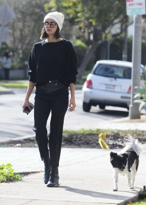 Nina Dobrev walking her dog Maverick in Los Angeles