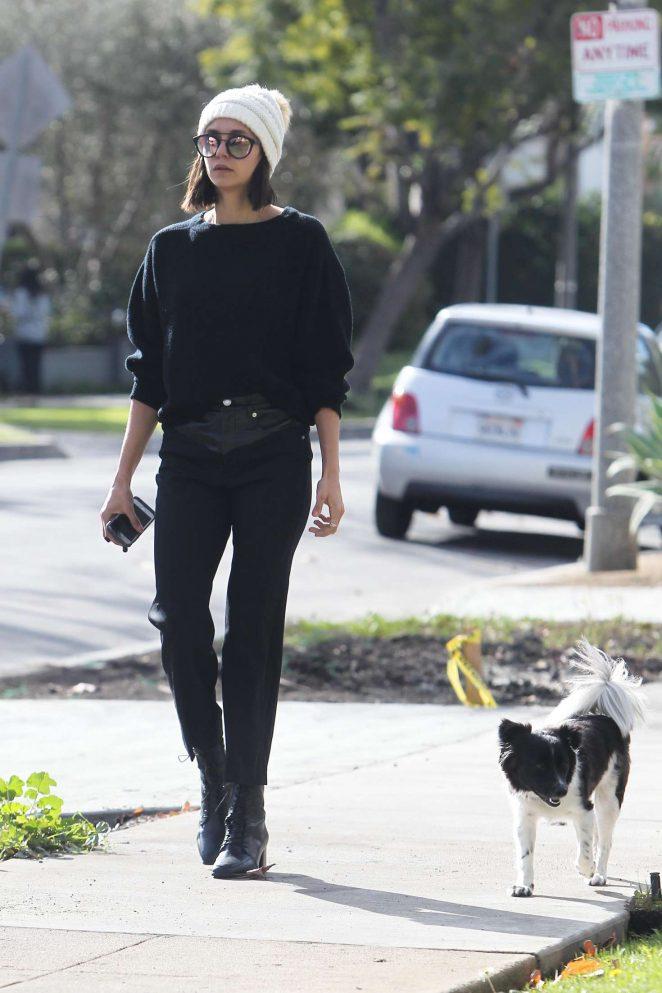 Nina Dobrev walking her dog Maverick in Los Angeles