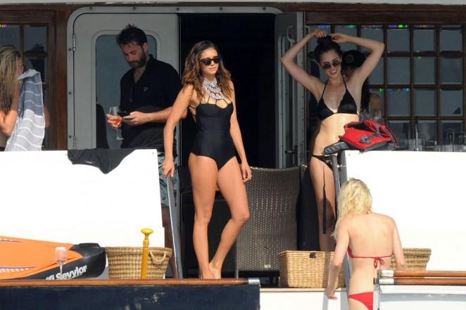 Nina Dobrev in Black Swimsuit -28