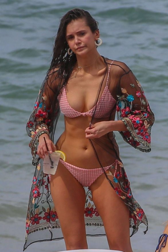 Nina Dobrev - Wearing pink bikini at a beach in Maui