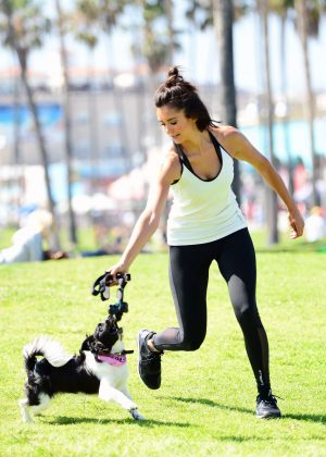 Nina Dobrev with Her Puppy Maverick at a Park in Los Angeles