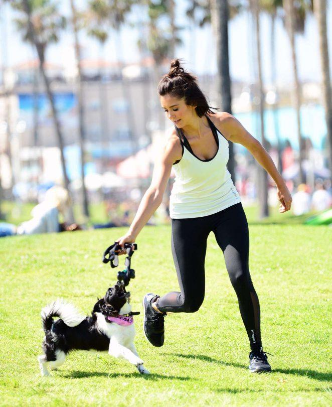 Nina Dobrev with Her Puppy Maverick at a Park in Los Angeles