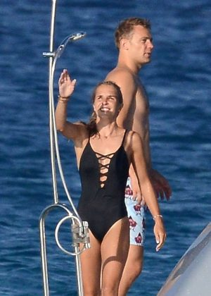 Nina Neuer in Black Swimsuit on holiday in Formentera