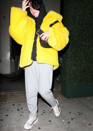 Noah Cyrus in a Yellow Fur Coat - Leaving Delilah Restaurant in West Hollywood