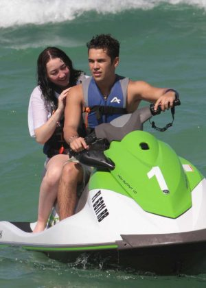 Noah Cyrus on a Jet ski with Austin Mahone in Miami Beach