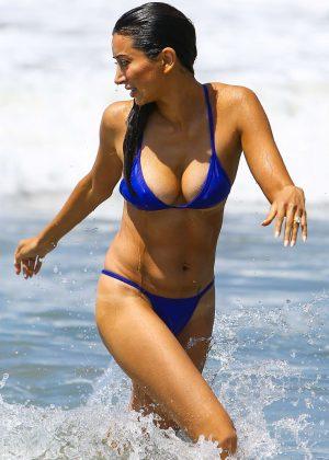 Noureen DeWulf in Blue Bikini at the beach in Santa Monica