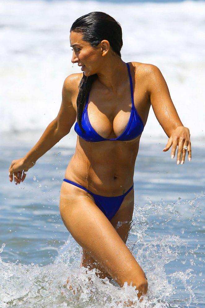 Noureen DeWulf in Blue Bikini at the beach in Santa Monica