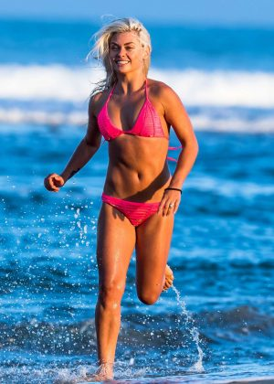 Oksana Platero in Pink Bikini on the beach in Malibu