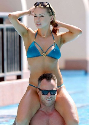 Ola Jordan in Blue Bikini 2016 -05