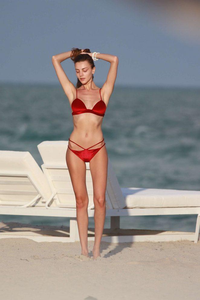 Olesya Senchenko in Red Bikini in Miami