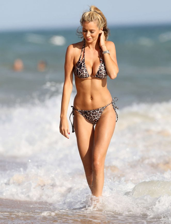 Olivia Attwood in Leopard Print Bikini in Portugal
