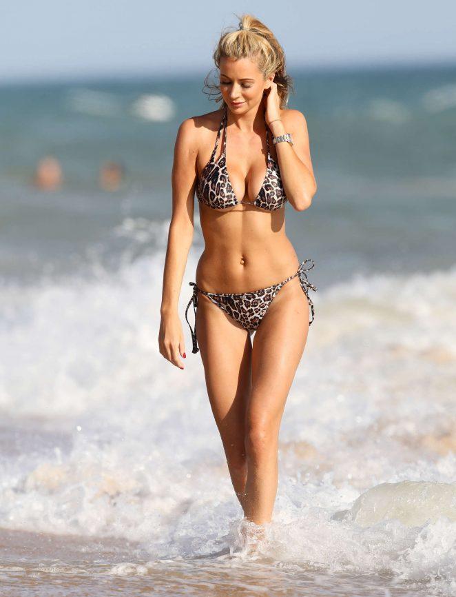 Olivia Attwood in Leopard Print Bikini in Portugal